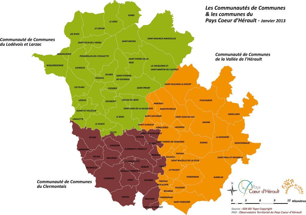Découpage Administratif du Coeur d'Hérault