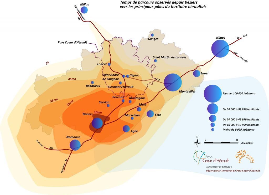 Temps de Parcours Béziers -> Hérault