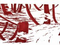 Détail d'un dessin de la série Lost in forest, Partie 2 Les chutes rouges, 30 / 40 cm, Feutre permanent sur papier, 2013