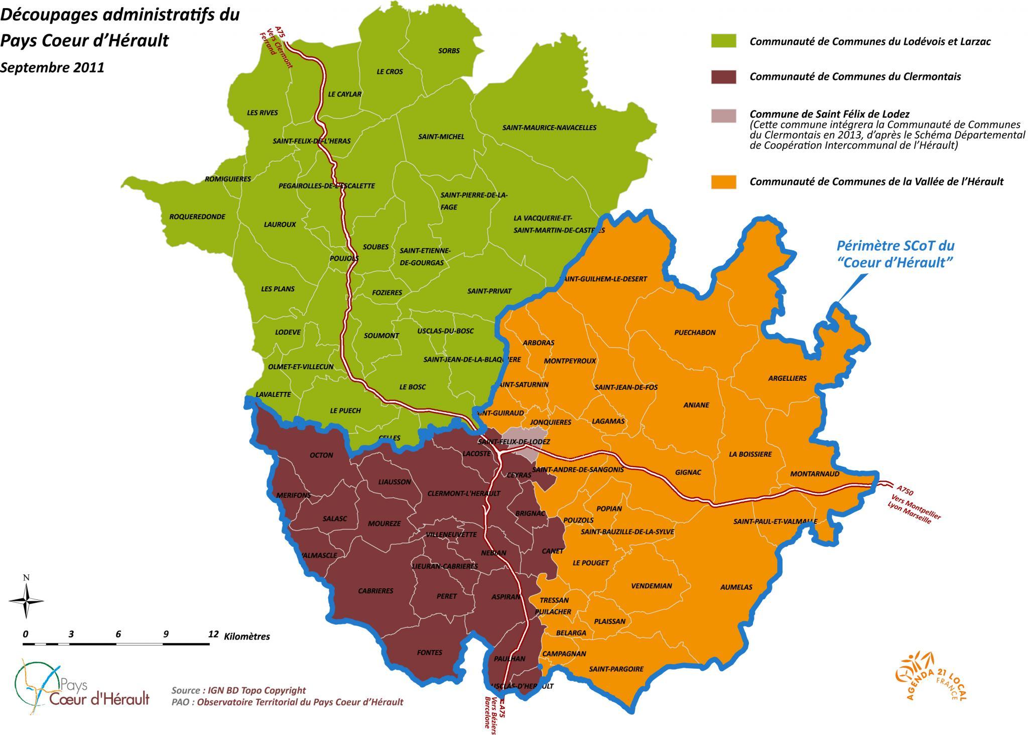 Périmètre proposé du SCoT du Coeur d'Hérault